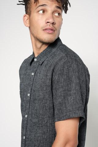 7 For All Mankind Short Sleeve Linen Shirt In Charcoal