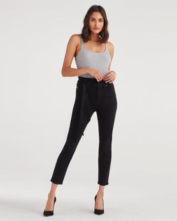 7 For All Mankind Women's Paperbag Jean In Pitch Black