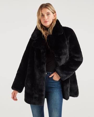 7 For All Mankind Women's Long Faux Fur Coat In Jet Black