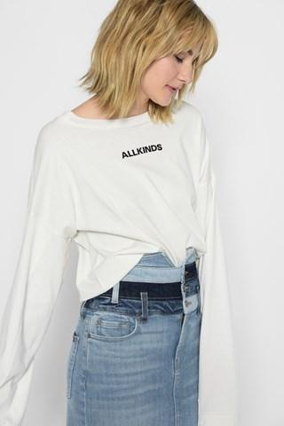 7 For All Mankind All Kinds Tomboy Long Sleeve Tee In White