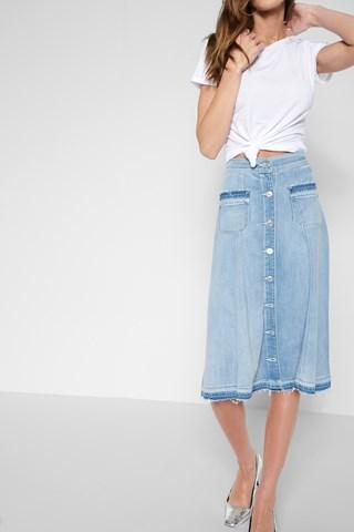 7 For All Mankind Midi Button Front Flowy Skirt In Coastal Blue