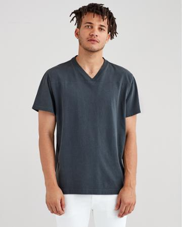7 For All Mankind Short Sleeve Vintage Football Tee In Old Black