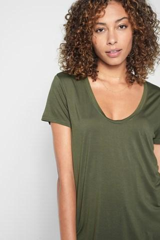 7 For All Mankind Deep U-neck Top In Olivine