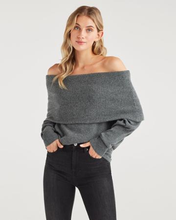7 For All Mankind Women's Cashmere Cowl Neck Sweater In Charcoal