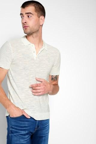 7 For All Mankind Short Sleeve Lightweight Polo In Ecru