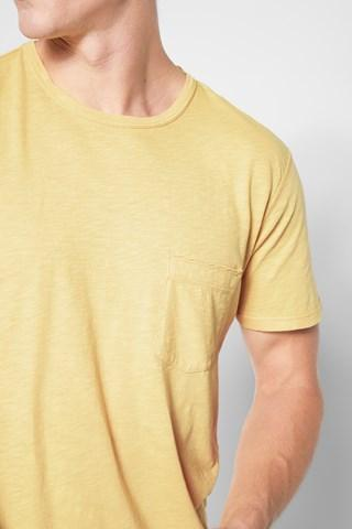 7 For All Mankind Short Sleeve Raw Pocket Crew In Dusty Yellow