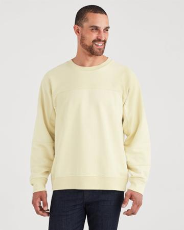 7 For All Mankind Paneled Terry Sweatshirt In Washed Sulfer Yellow