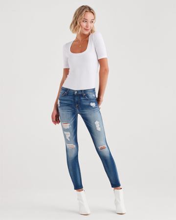 7 For All Mankind B(air) Authentic Denim Ankle Skinny With Destroy In Distressed Light