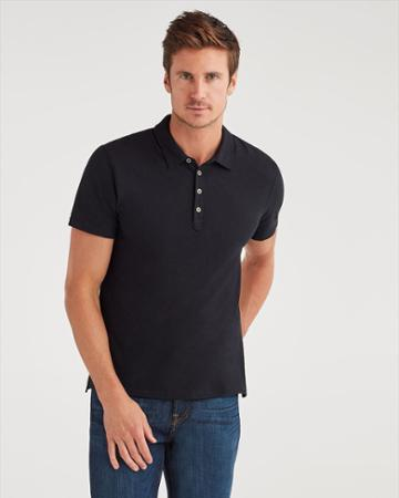 7 For All Mankind Men's Short Sleeve Polo In Black