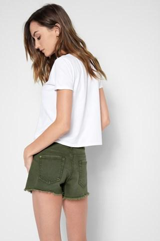 7 For All Mankind Cut Off Short In Olive