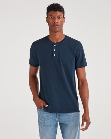 7 For All Mankind Men's Boxer Three Button Henley In Midnight Navy
