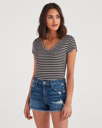 7 For All Mankind Women's V-neck Tee In Black And White Stripe