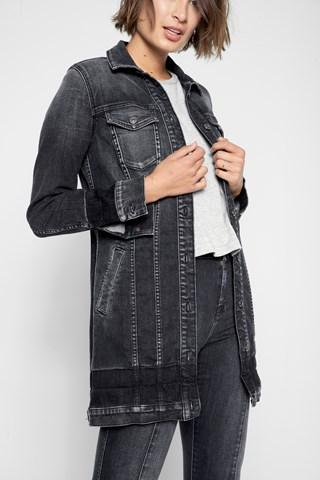 7 For All Mankind Long Trucker Jacket With Shadow Hems In Vintage Noir 4