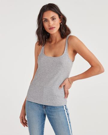 7 For All Mankind Women's Ribbed Tank Top In Heather Grey