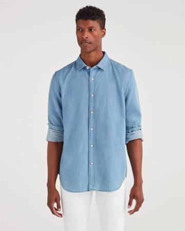 7 For All Mankind Men's First Class Cut Away Collar Shirt In Bright Indigo