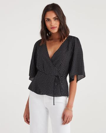 7 For All Mankind Women's Wrap Front Short Sleeve Top In Black And White Polka Dot