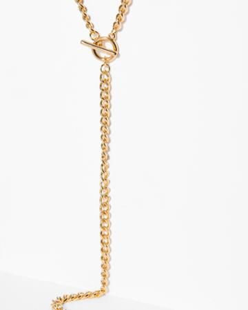 7 For All Mankind Five And Two Lane Necklace In Gold