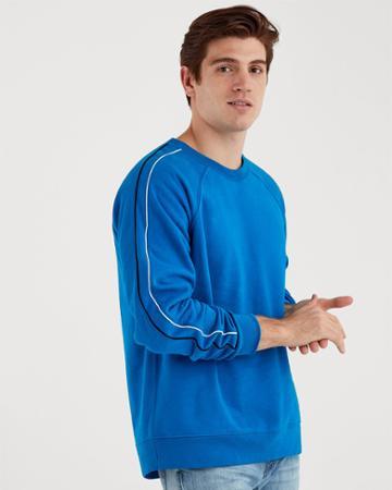7 For All Mankind Stripe Sleeve Raglan Sweatshirt In Imperial Blue