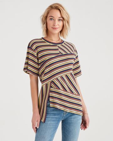 7 For All Mankind Marques Almeida X 7fam Short Sleeve Wrap Stripe Top In Multistripes