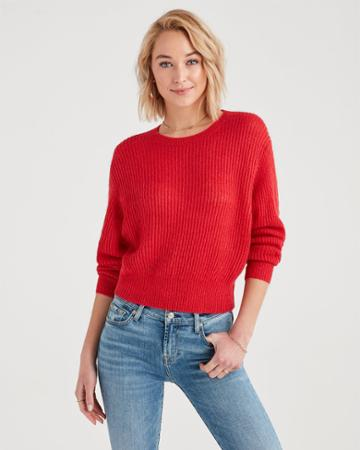 7 For All Mankind Open Weave Sweater In Bright Red