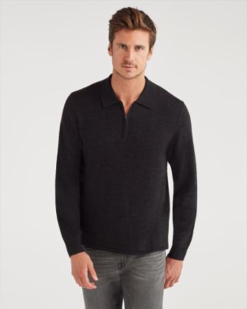 7 For All Mankind Men's Merino Wool Long Sleeve Half Zip Polo In Heather Black