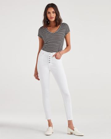 7 For All Mankind Women's High Waist Ankle Skinny With Exposed Button Fly In White Runaway