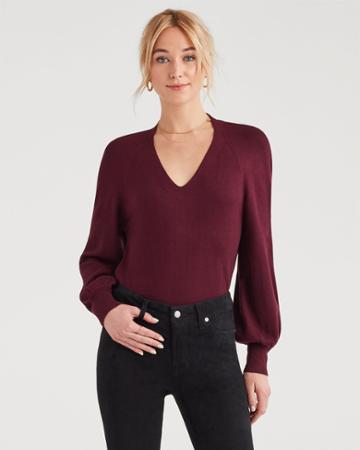 7 For All Mankind V-neck Sweater In Dark Merlot