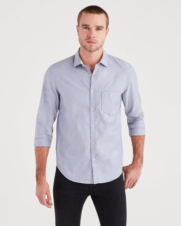 7 For All Mankind Men's Long Sleeve Oxford In Light Blue