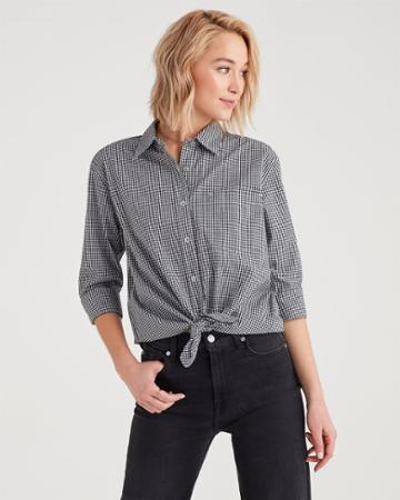 7 For All Mankind Gingham High Low Tie Front Shirt In Black And White