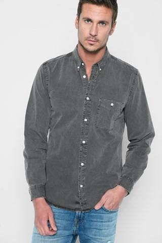 7 For All Mankind Long Sleeve Stone Washed Shirt In Black