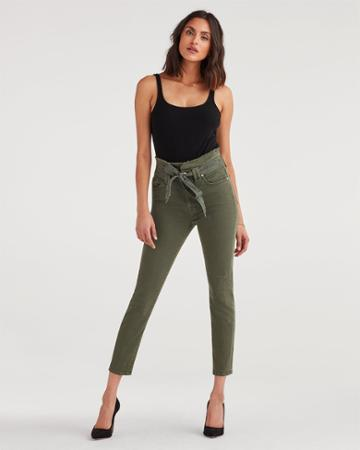 7 For All Mankind Women's Paperbag Jean In Army