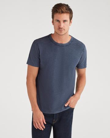 7 For All Mankind Men's Brooklyn Signature Slub Crew Tee In Navy