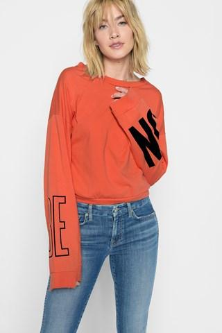 7 For All Mankind Be On Tomboy Long Sleeve Tee In Poppy