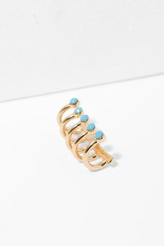 7 For All Mankind Oracle Ear Cuff In Turquoise And Gold