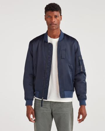 7 For All Mankind Men's Class-a Bomber Jacket In Midnight Navy