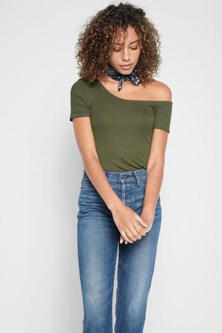 7 For All Mankind One Shoulder Top In Olivine