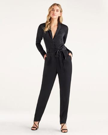 7 For All Mankind Women's Satin Shawl Collar Jumpsuit In Jet Black