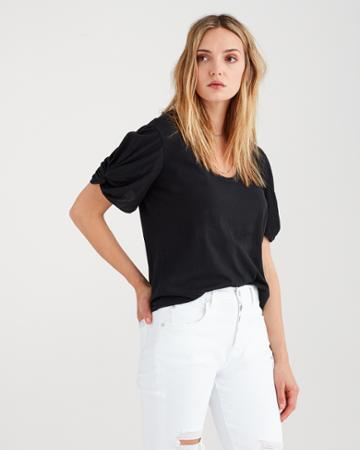 7 For All Mankind Twist Sleeve Tee In Black