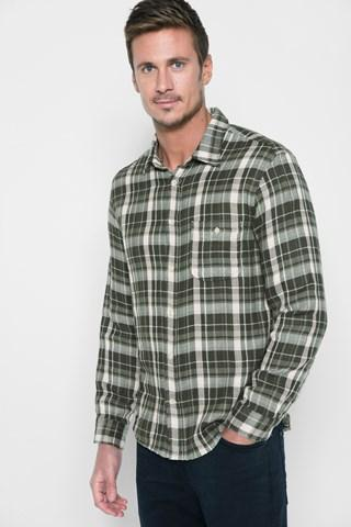 7 For All Mankind Long Sleeve Double Face Plaid Shirt In Slate Grey