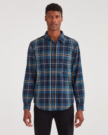 7 For All Mankind Men's Long Sleeve Tripple Needle Worker Shirt In Navy Plaid