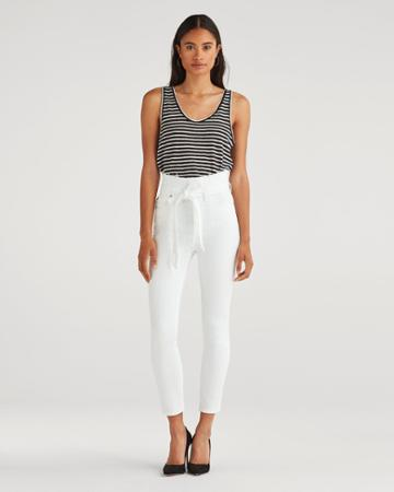 7 For All Mankind Women's Paperbag Jean In White Runway