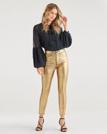 7 For All Mankind Women's High Waist Ankle Skinny With Faux Pockets In Liquid Gold