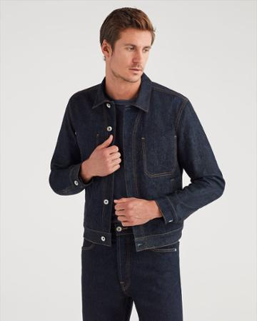 7 For All Mankind Men's Modern Trucker Jacket In Rinse