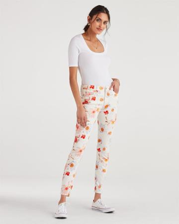 7 For All Mankind Women's Ankle Skinny In Bow Blossoms