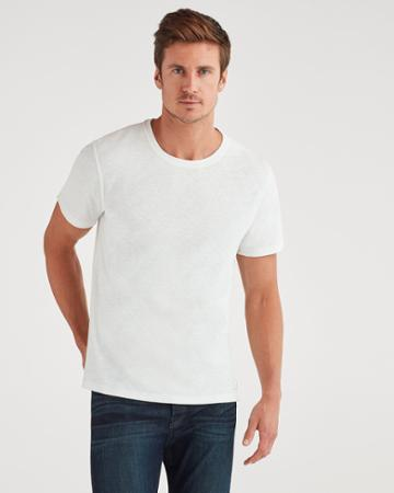 7 For All Mankind Men's Brooklyn Signature Slub Crew Tee In White