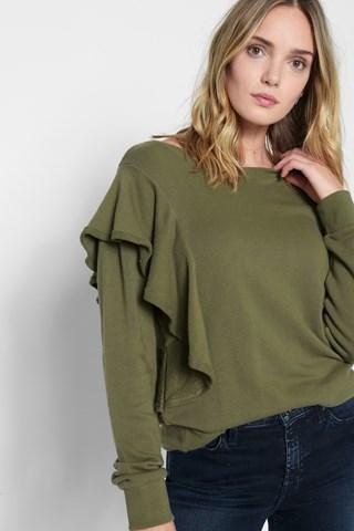 7 For All Mankind Asymmetrical Ruffle Sweatshirt In Olivine