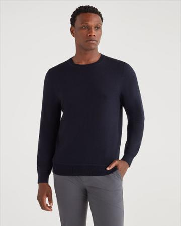 7 For All Mankind Men's Merino Wool Long Sleeve Crewneck In Midnight Navy