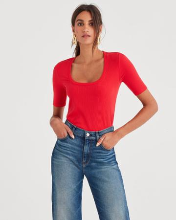 7 For All Mankind Ribbed Scoop Neck Tee In Bright Red