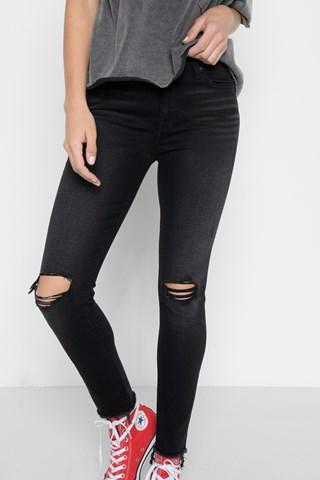 7 For All Mankind Aubrey Super High Waist Ankle Skinny With Frayed Hem And Busted Knees In Aged Onyx