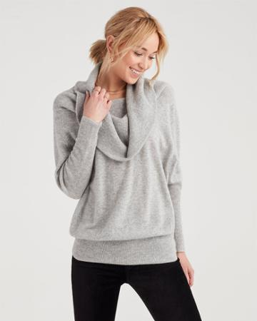7 For All Mankind Off Shoulder Pullover Sweater In Light Heather Grey